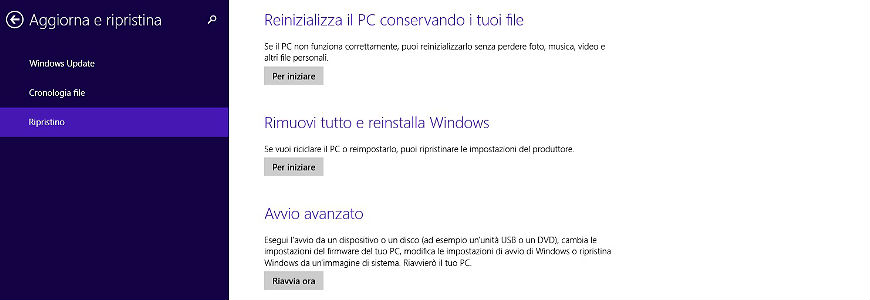 Come ripristinare Windows 8 o 8.1