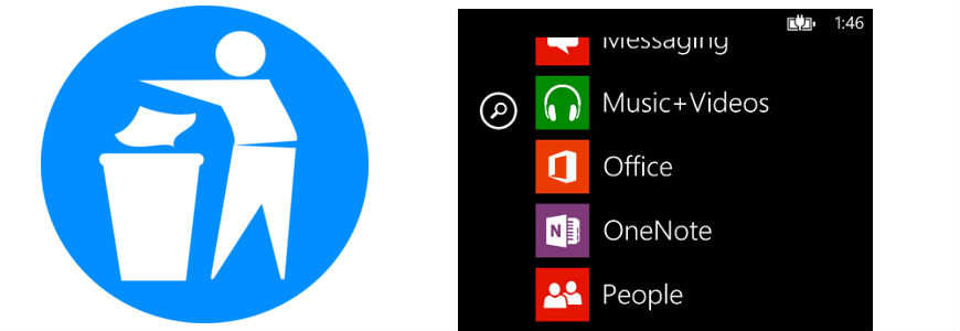 Disinstallare app Windows Phone 8 e 8.1.