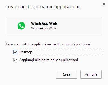 Crea scorciatoia applicazione WhatsApp Web
