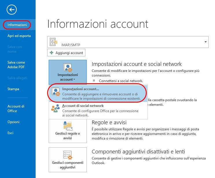 Impostazioni generali account Outlook