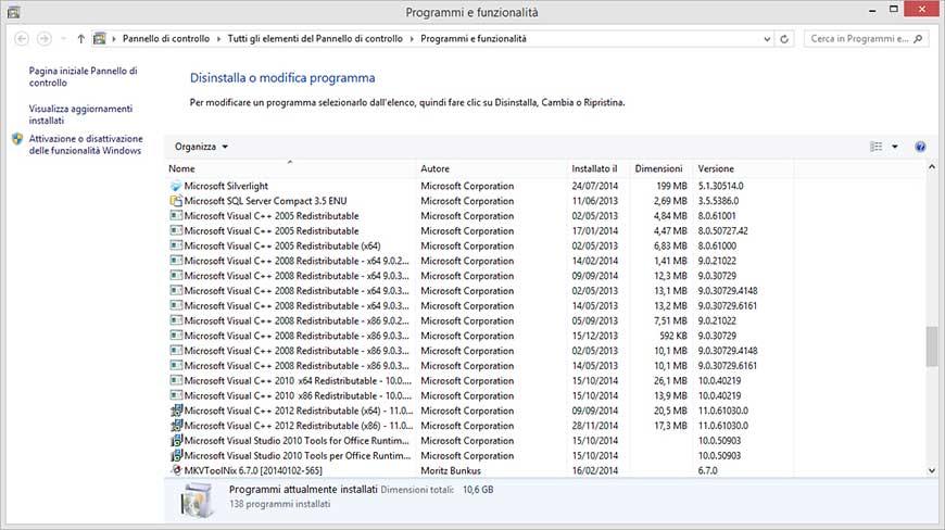 Programmi e funzionalità Windows