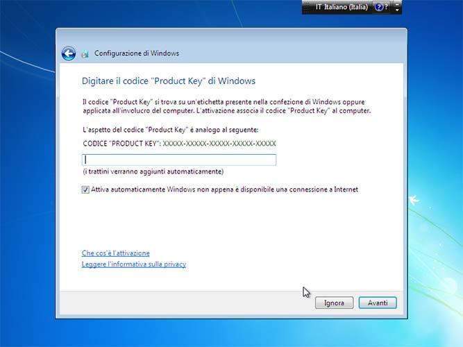 Attivazione Windows 7