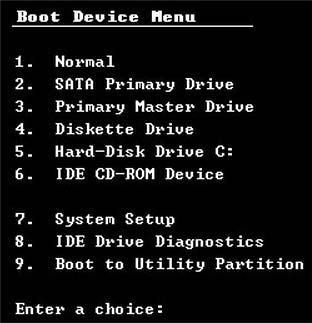 Boot menu PC