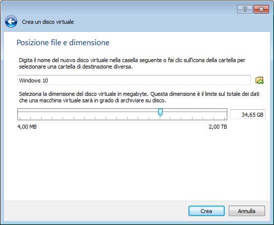 Dimensione del disco fisso VirtualBox