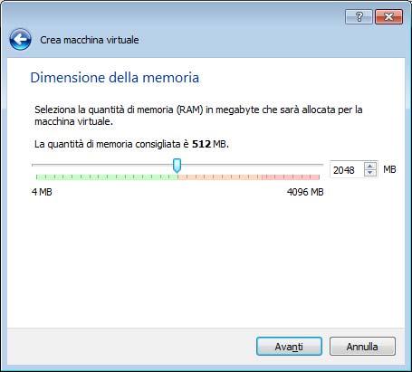 Dimensioni della ram VirtualBox