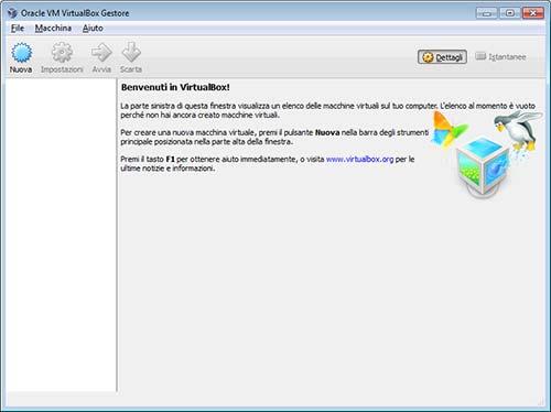 Finestra iniziale VirtualBox