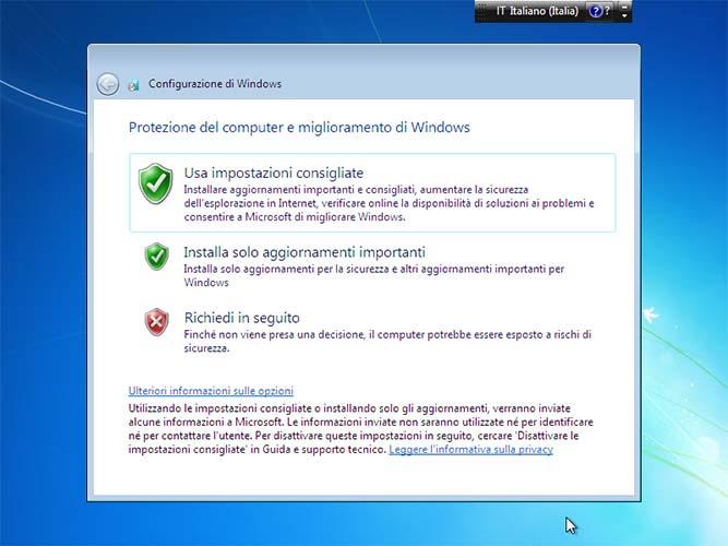 Impostazioni consigliate Windows 7