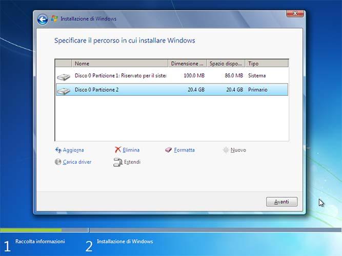 Installazione Windows 7 opzioni formattazione