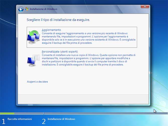 Installazione Windows 7 personalizzata