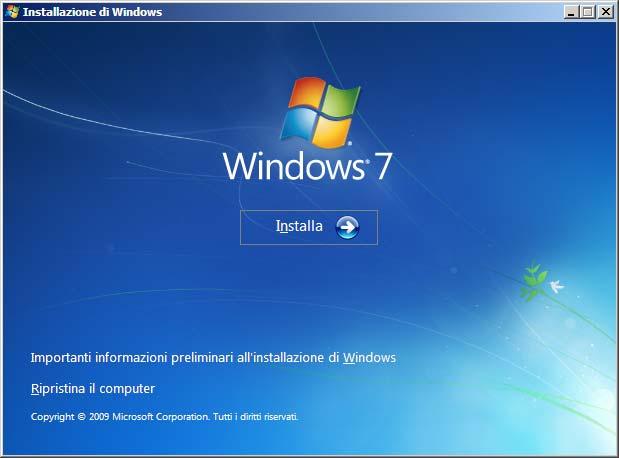 Installazione Windows 7 Ripristina