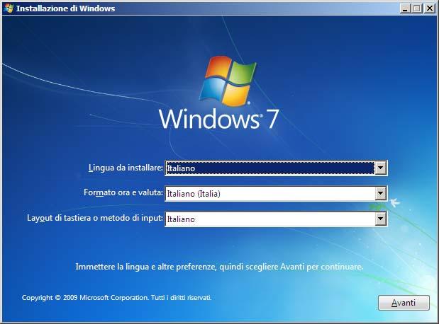 Installazione Windows 7 schermata iniziale