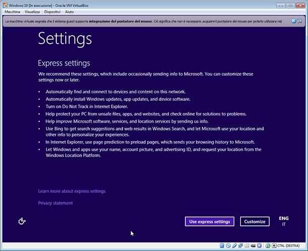 Scelta settaggi installazione Windows 10