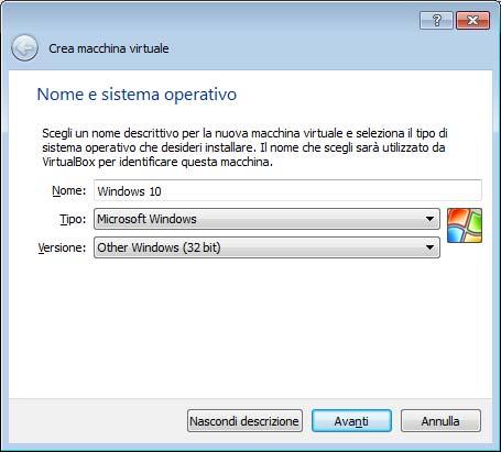 Scelta sistema operativo da installare con VirtualBox