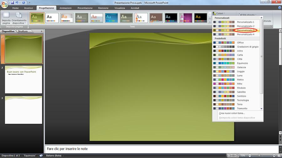 Colore Template: cambiare lo sfondo di una slide.