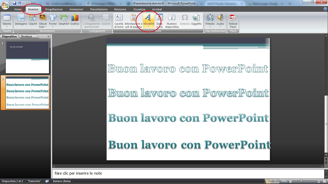 animare le scritte in powerpoint